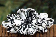 Japanese Hair Flower: Wedding Flowers for Hair, Kanzashi Barrette, Black and White - Damask Flower. via Etsy.
