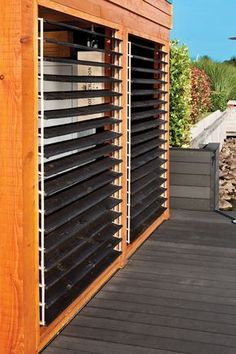 Exterior Blinds, Door Protection, Backyard Creations, Diy Shutters, Louvered Shutters, Outdoor Blinds, Porch Area, Outdoor Living, Outdoor Decor