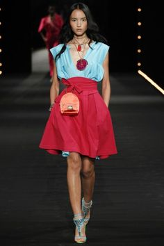 PFW: Alexis Mabille's Watermelon Runway | Blue Top and Red Obi Belt Skirt | The Luxe Lookbook