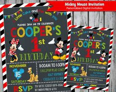 MICKEY Mouse Invitation - Personalized - Custom Invite - Digital Print - Birthday Party - Chalkboard - Minnie - Boutique - First birthday by LollipopPartyDesigns on Etsy https://www.etsy.com/listing/254229369/mickey-mouse-invitation-personalized