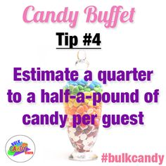 To calculate the total amount of candy per #candybuffet, estimate a quarter to a half-a-pound of candy per guest! @bulkcandystore #bulkcandy