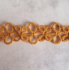 Gold Lace Bookmark in Tatting Eva by TataniaRosa on Etsy