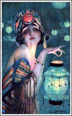 Mysterious Lantern Lady. Lovely Flapper. VINTAGE Art Deco ILLUSTRATION. Art Deco Digital Download.