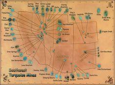 Map of Southwest Turquoise Mines Large Laminated Poster. $14.00, via Etsy.