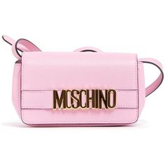 Moschino Metal Logo Leather Cross Body Bag ($335) ❤ liked on Polyvore featuring bags, handbags, shoulder bags, rosa, leather crossbody handbags, cross-body handbag, genuine leather shoulder bag, pink crossbody and leather cross body purse