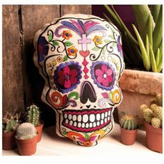 Sugar Skull Cushion + Inner - Embroidered Pillow Cover Halloween Party high in Home, Furniture & DIY, Home Decor, Cushions Mexican Sugar Skulls, Halloween Party, Halloween Decorations, Flamingo Gifts, Mexican Embroidery, Candy Skulls, Retro Home, Unusual Gifts, Novelty Gifts