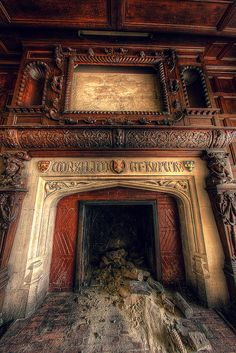 [ the fireplace in the libary or dinning room] Derelict Places abandoned Abandoned Buildings, Abandoned Mansion For Sale, Abandoned Property, Abandoned Castles, Abandoned Mansions, Old Buildings, Derelict Places, Abandoned Places, Haunted Places