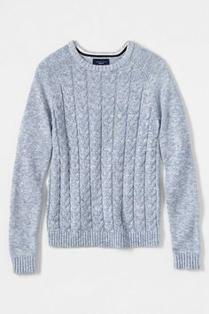 Women's Drifter Marl Cable Crewneck Sweater from Lands' End