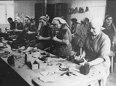 Photograph of Women Prisoners Working at the Shoe Workshop in the Ravensbruck Concentration Camp