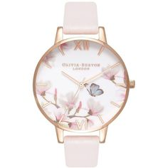 Women's Olivia Burton Pretty Blossom Leather Strap Watch, 38Mm (7.160 RUB) ❤ liked on Polyvore featuring jewelry, watches, floral jewellery, olivia burton, flower jewelry, monarch butterfly jewelry and dial watches