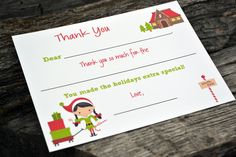 """Get your kids to write thank you notes with """"Christmas Fill In The Blank Thank You Notes"""" Girl Elf Design. $18.00, via Etsy."""