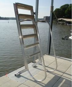 Wet Steps 5 Step Aluminum Dock Ladders with Standard Aluminum Finish, 55 Degree Climb Angle, 500 lb. Weight Capacity, Marine Grade Aluminum.