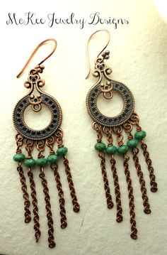 Green Czech glass and copper earrings. Handmade jewelry, handmade jewellery, fashion, accessories, artisan, bohemian jewelry.