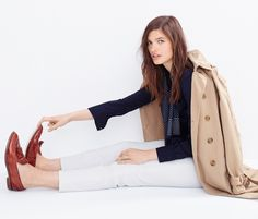 Washed Cotton Trench coat + Silk navy pocket blouse + Matchstick jean in white + Silk scarf in Dot + Bielle crackled leather loafers   Looks We Love - J.Crew