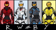 Team RWBY - Halo Version. I really like..except I Would have had Blake as all black or with white instead of blue.