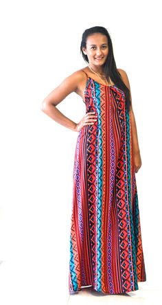 Aztec Maxi in Coral.