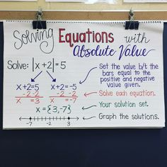 Algebra Anchor Chart 💜 My solving absolute value equations anchor chart totally helped my students! Maths Algebra, Math Tutor, Math Teacher, Math Classroom, Teaching Math, Algebra 2 Help, Algebra Equations, Algebra Activities, Math Help