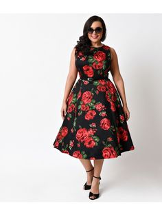 Plus Size Vintage 1950s Black & Red Rose Floral Hepburn Stretch Swing Dress