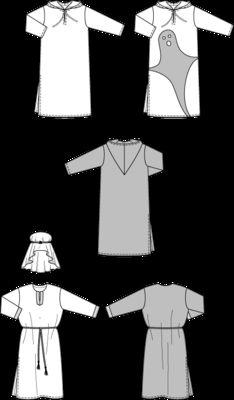burda style, Schnittmuster für Halloween - Gespenst, Geist, Scheich. Weites, bodenlanges Gewand mit Geister-Motiv aus Filz