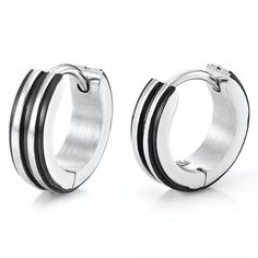 Unique Stainless Steel Hoop Earrings for Men (Silver Black) - http://www.styledetails.com/unique-stainless-steel-hoop-earrings-for-men-silver-black - http://ecx.images-amazon.com/images/I/41EWPcJtcuL.jpg