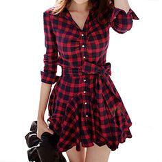 Women Black Red Plaid Dress 2016 New Long Sleeve Preppy Style Casual Turn-down Collar Mini Autumn Winter Dresses Vestidos