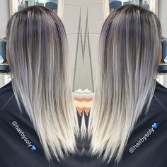 Gorgeous long ombre hair color that goes from a silvery grey to platinum. Hair by Soly @hair_by_soly