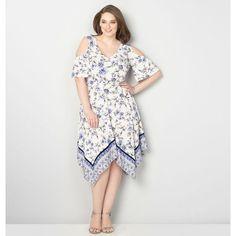 4b73c8811e49 Avenue Blue Mixed Floral Cold Shoulder Dress - 7 Pretty Plus-Size Dresses  for Spring