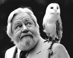 Naturalist & Conservationist: Gerald Durrell, O.B.E. ~ With An Owl.  (N.B: His very special sanctuary for Worldwide Endangered Species is found on the lovely Island of Jersey, The British Isles.  And well worth an unforgettable visit!  Information to be found on: Wikipedia.)