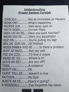 MODERN CORNISH DIALECT | 'Understanding Proper Spoken Cornish' - some colloquial language pointers     ✫ღ⊰n
