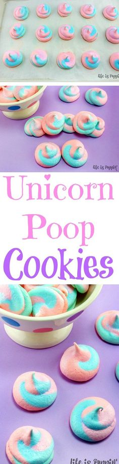 DIY dessert idea: Unicorn Poop Cookies for a unicorn party! You will be a superstar when you show up to the next birthday party, slumber party or anywhere else with these super fun unicorn poop cookie (Cool Desserts Unicorn) Unicorn Poop Cookies, Easy Unicorn Cake, Unicorn Foods, Unicorn Baby Shower, Unicorn Birthday Parties, Cake Birthday, Birthday Ideas, 10th Birthday, Paris Birthday