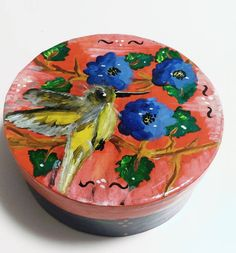 Box fully painted with acrylic paints. The unique pattern not reproduce. The box is varnished for protection. Dimensions: 18x18x7cm