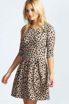 Lisa Leopard Print Brushed Knit Skater Dress