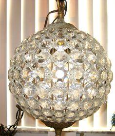 Vintage Chandelier Crystals Prisms Swag Lamp - Crystal Ball Swag Lamp. via Etsy.