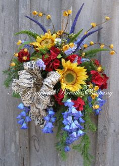 Spring Wreath, Summer Wall Basket, Country French Wreath, Sunflower Bouquet, Designer Wreath, Country Cottage Wreath, Summer Floral