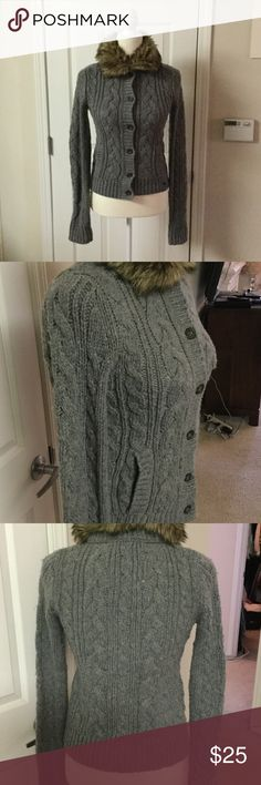 Abercrombie & Fitch Jacket Knitted jacket with faux fur collar Good preowned condition Abercrombie & Fitch Jackets & Coats
