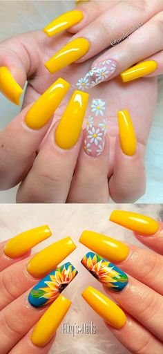 Beautiful yellow summer acrylic nails coffin We have chosen the most beautiful yellow nail art designs for summer 2019 between yellow and grey nails, yellow and black nails, and yellow and silver nails. Yellow Nails Design, Yellow Nail Art, Purple Nail, Acrylic Nails Yellow, Flower Design Nails, Bright Gel Nails, Acrylic Nails Chrome, Yellow Toe Nails, Nail Art Designs