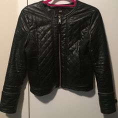 H&M faux leather jacket Quilted leather design. Sleeves can be removed to become 3/4 sleeve. Has two pockets. Great condition. Vegan friendly! H&M Jackets & Coats