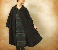 Black Coat Big Sweep Women Wool Winter Coat Long by camelliatune, $139.00