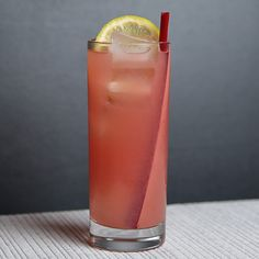 Rhubarb & Strawberry Collins 1.5 oz Gin or vodka .5 oz Aperol .75 oz Rhubarb syrup .75 oz Lemon juice .5 oz Strawberry juice Club soda   Garnish:  1 Pickled Rhubarb stalk 1 Lemon wheel