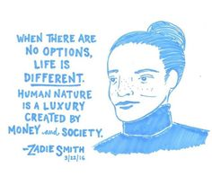 Zadie Smith at BAM, March 2016. Illustration by LastNightsReading.
