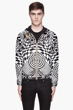 VERSUS White geometric patterned reversible K-Way Jacket --- Pattern mix for the win!