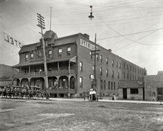 """Sault Sainte Marie, Michigan, circa 1905. """"Park Hotel."""" An interesting cast of characters in less than park-like surroundings. Detroit Publishing. I didn't really notice all the people in the different locations until I looked at this in full size."""