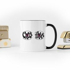 Check Them - Coffee Mug Breast Cancer Survivor, Breast Cancer Awareness, White Ceramics, Coffee Mugs, How To Draw Hands, Clothing Accessories, Tableware, Gifts, Check