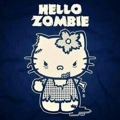 Hello Zombie T-Shirt - It's so cute it's sick. Horror Shirts, Hello Kitty Art, Goodbye Kitty, Dead Pictures, Zombie T Shirt, Barbie, Bad Cats, Bad Kitty, Kitty Kitty