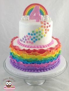 Rainbow cake, ruffle cake, rainbow star cake