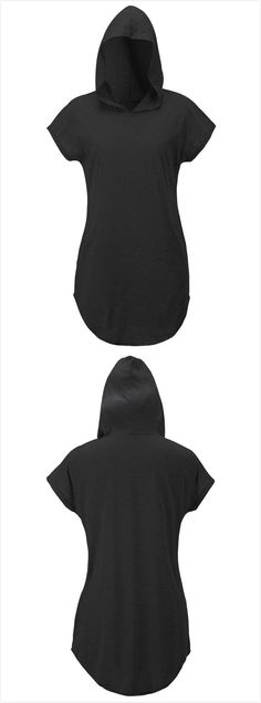 Women's Solid Hooded Short Sleeve Side Slit Loose Tee .Check more from www.oasap.com .
