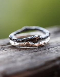 Two Sterling Silver Twig Rings, Black Patina Twig Ring, Sterling Silver Branch Rings, Whimsical Silver Twig Ring, Twig Friendship Rings by ClaudetteTreasures on Etsy (null) Jewelry Rings, Jewelry Accessories, Fine Jewelry, Jewelry Design, Unique Jewelry, Gold Jewellery, Jewelry Ideas, Jewellery Shops, Jewelry Stores