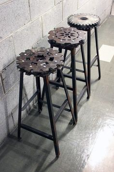 Man Cave Furniture Decorating Ideas Metal Gear Bar Stools I wonder if ypu could set them in Resin first? Industrial Bar Stools, Vintage Industrial Furniture, Industrial House, Industrial Style, Industrial Bookshelf, Industrial Windows, Industrial Bathroom, Industrial Office, Industrial Farmhouse