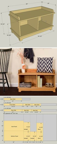 How to build a DIY Mudroom Storage Bench | Free printable project plans at buildsomething.com | If you'd like a way to keep your mudroom or entryway organized, but you're short on space, this bench is a perfect solution. At just 3-feet wide, it offers a lot of utility in a compact package. Plus, its classic styling can fit in with a variety of decorating styles.