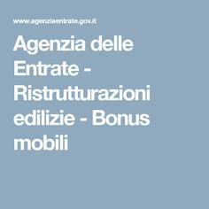 Agenzia delle Entrate - Ristrutturazioni edilizie - Bonus mobili
